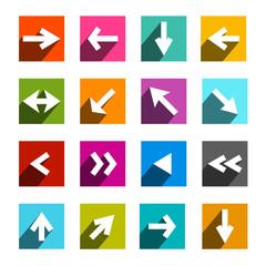 Vector Arrow Icon. Colorful Flat Design Arrows Set.