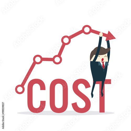 """Cost reduction concept. Cost down. Businessman with his ..."