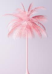 Unusual Pastel Pink Palm 3d illustration