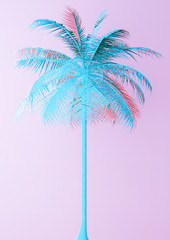 Unusual Blue Palm On Pink Background 3d illustration