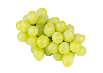 bunch of green grapes isolated on the white background