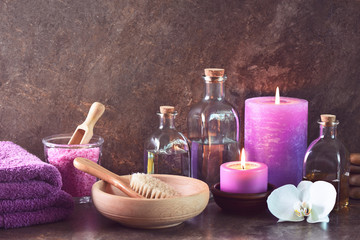 Spa natural cosmetics arrangement with aroma candles