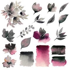 Watercolor flowers set. Decorative floral elements. Flowers and leaves for decor. Wedding invitation elements for design. Floral decor. Greeting card flowers. Japanese style.