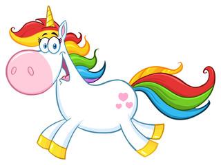 Cute Magic Unicorn Cartoon Mascot Character Running. Illustration Isolated On White  Background