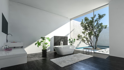 Luxury condominium bathroom with glass wall