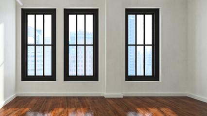Scandinavian style room with polished wood floor