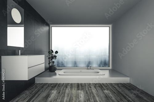 Minimalist Modern Bathroom With Bathtub