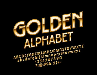 Vector Golden Alphabet. Glossy rotated Font. Luxury Letters, Numbers and Symbols