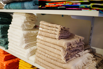 Multicolor colors of towel in the Towel shop