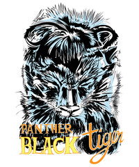 Black Tiger or Panthom junior vector art graphic design has word and clipping paths