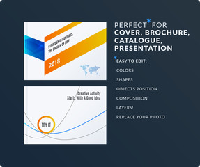 Presentation. Abstract vector set of modern horizontal templates with arrows diagonal shapes for business, teamwork