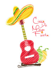 nice and beautiful abstract, banner or poster for Cinco De Mayo with nice and creative sombrero, guitar and chili design illustration in a background.