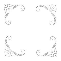 Calligraphic corners and decorative elements. Filigree flourish corners.  illustration.