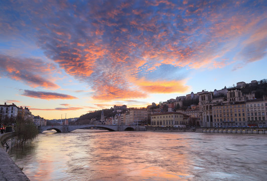A colorful dusk over the Saone river and Vieux-Lyon. Lyon, France.