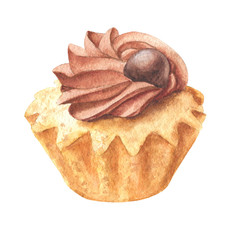 Watercolor chocolate cupcake, hand drawn delicious food illustration, shorcake isolated on white background.