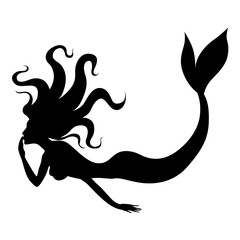 Silhouette of beauty mermaid