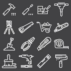 Thin line Construction tools icons set