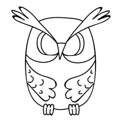 vector isolated owl character, book coloring book