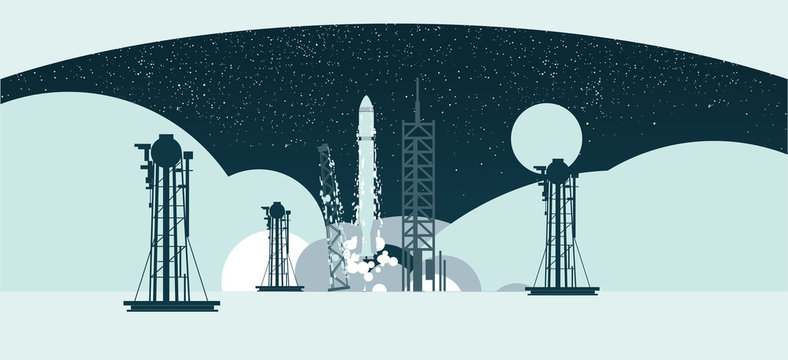 Rocket with spaceship launching at night on blue background with stars
