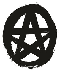 Pentagram Symbol 2 Black & White Vector Hand Painted with Rounded Brush