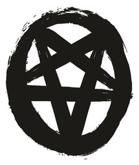Pentagram Symbol 1 Black & White Vector Hand Painted with Rounded Brush