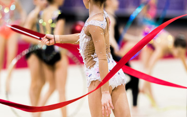 Foto op Plexiglas Gymnastiek Rhythmic gymnastics competition