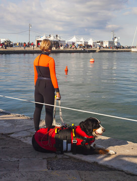 Rescue worker and her lifeguard dog