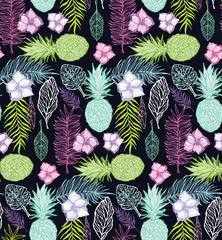 Hand drawn doodle tropical pattern