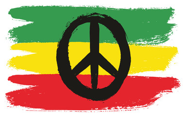 Rasta Man Peace Flag Vector Hand Painted with Rounded Brush