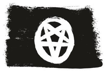 Pentagram Black Flag Vector Hand Painted with Rounded Brush