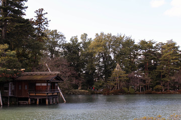 The view around Kenrokuen, one of the most beautiful gardens in Japan