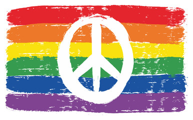 LGBTQ Peace Flag Vector Hand Painted with Rounded Brush