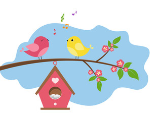 Singing birds on branch. Spring scene with flowers, trees and a birdhouse.