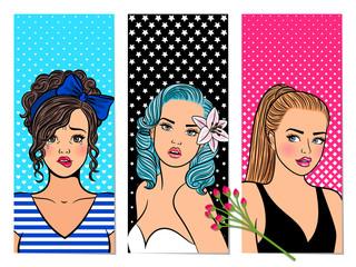 Retro girls banners