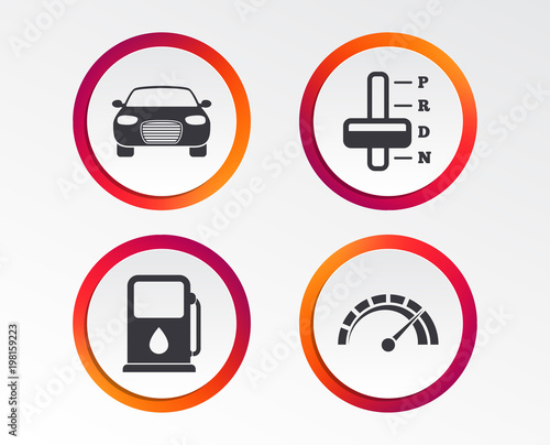 Transport Icons Car Tachometer And Automatic Transmission Symbols