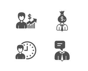 Set of Business growth, Manager and Working hours icons. Support service sign. Earnings results, Work profit, Project deadline. Human talking.  Quality design elements. Classic style. Vector