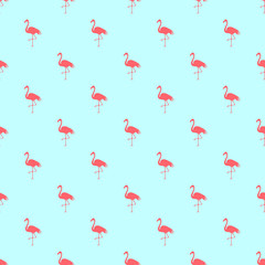 Flamingo seamless pattern on a mint green background