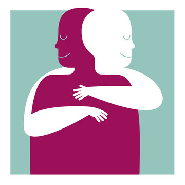 A RECONFIRM HUG. CHEER UP. PSYCHOLOGICAL HELP. Serie of metaphorical concepts.