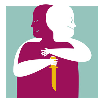 THE TRAITOR'S HUG. STAB IN THE BACK. Serie of metaphorical concepts.