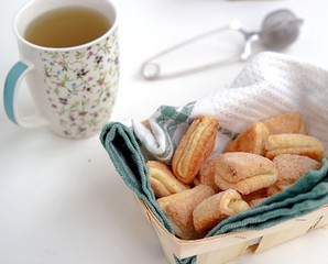 Delicate curd cookies, sprinkled with sugar, for tea