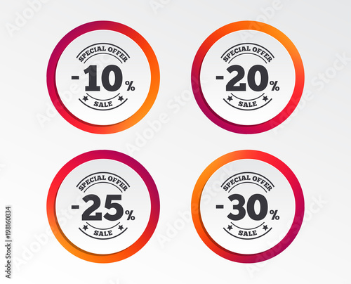 sale discount icons special offer stamp price signs 10 20 25 and