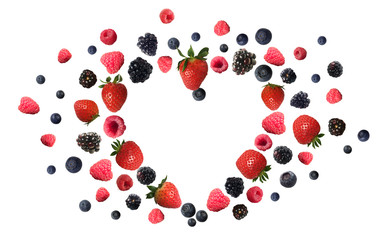 berries lie in the form of hearts