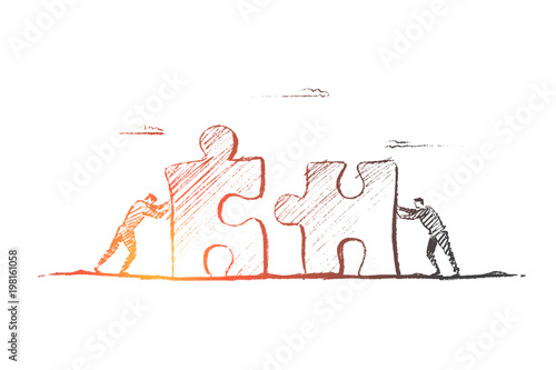 Vector hand drawn team concept sketch  Two men moving puzzle pieces
