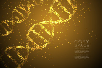 Abstract Geometric Circle dot pattern DNA shape, Science concept design gold color illustration isolated on brown gradient background with copy space, vector eps 10