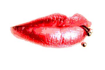 Rote Lippen mit Piercing