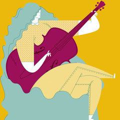 LONG BLUE HAIR WOMAN PLAYING DOUBLE BASS.