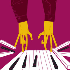 PLAY THE PIANO UNTIL THE KEYS JUMP. HANDS OF PIANIST WITH VERY LONG FINGERS. Serie of funny illustrations with cool musicians and instruments.