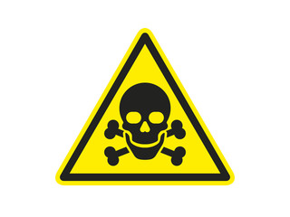Sign of danger. Triangle with skull and crossbones. Poison icon. Vector illustration