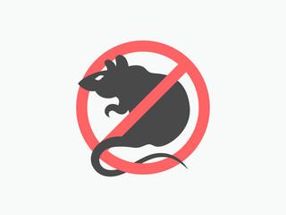 No rat symbol. Rat warning vector sign