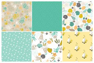 Sea seamless patterns set